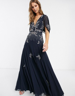 Asos Design DESIGN maxi dress with linear sequin and floral beading-Navy