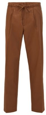 HUGO BOSS Cotton Poplin Relaxed Fit Paints With Drawstring Waist - Dark Brown