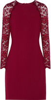 Badgley Mischka Janelle lace-paneled crepe dress