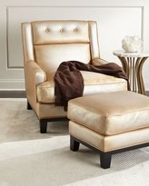 The Eleanor Rigby Leather Company Quinn Metallic Leather Ottoman