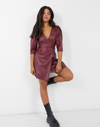 ASOS DESIGN leather look v neck wrap front mini dress in oxblood