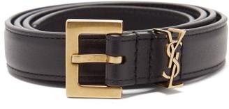 Saint Laurent logo Leather Belt - Black