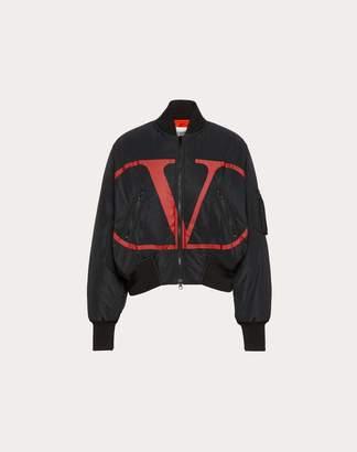 Valentino Vlogo Nylon Bomber Women Black/ Red 46