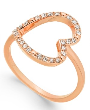INC International Concepts Inc Rose Gold-Tone Pave Crystal Open Heart Ring