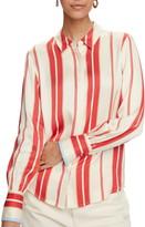 Scotch & Soda Stripe Long Sleeve Satin Blouse