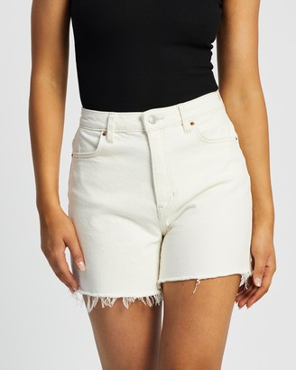 Lee Women's White Denim - Girlfriend Shorts - Size 6 at The Iconic