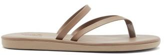 Ancient Greek Sandals Cross-strap Leather Slides - Khaki