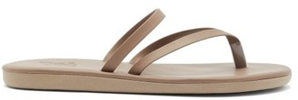 Ancient Greek Sandals Cross-strap Leather Slides - Womens - Khaki