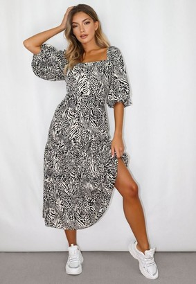 Missguided White Zebra Print Puff Sleeve Tiered Midi Smock Dress