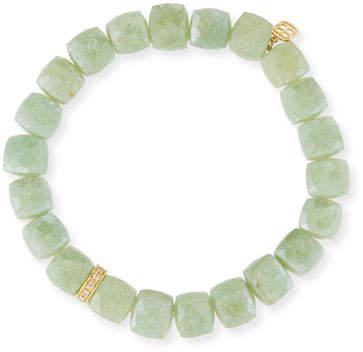 Sydney Evan 8mm Green Silverite Cube Beaded Bracelet w/14K Gold Diamond Rondelle