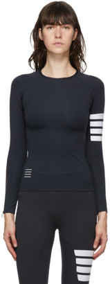 Thom Browne Black Flyweight Compression Tech 4-Bar Long Sleeve T-Shirt