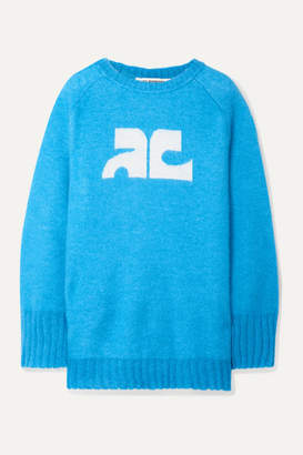 Courreges Intarsia Knitted Sweater - Azure