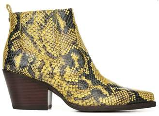 Sam Edelman Winona Western Snakeskin-Embossed Leather Ankle Boots