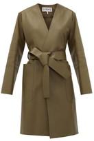 Loewe V-neck Belted Leather Coat - Womens - Khaki