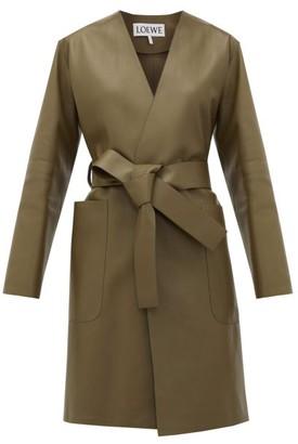 Loewe V-neck Belted Leather Coat - Khaki