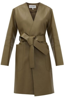 Loewe V-neck Belted Leather Coat - Womens - Khaki
