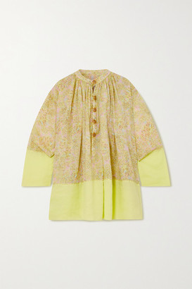 Yvonne S Priest Tiered Floral-print Linen Mini Dress - Lime green