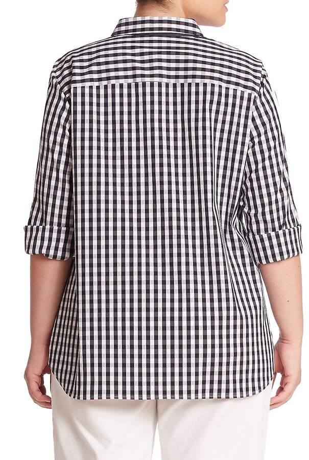 Lafayette 148 New York Women's Plus Paget Gingham Blouse - Ink Multi, Size 1x (14-16)