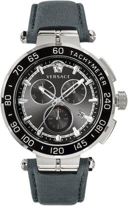 Versace Greca Detailed Leather Strap Watch, 45mm