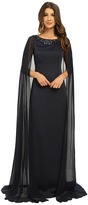 Adrianna Papell Cape Dress with Neck Beading