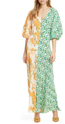 All Things Mochi Rubylyn Split Floral Silk Maxi Dress