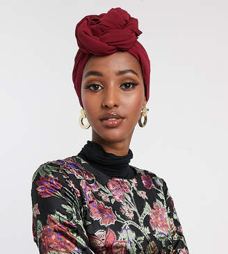 Verona chiffon maxi headscarf in burgundy-Red