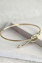 LuLu*s Knot So Fast Gold Rhinestone Bracelet