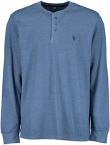 U.S. Polo Assn. Men's Tee Shirts MDBH - Heather Medium Blue Long-Sleeve Thermal Henley - Men