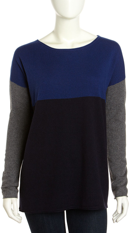 Vince Wool-Cashmere Tricolor Colorblock Sweater, Royal