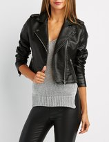 Charlotte Russe Textured Faux Leather Moto Jacket