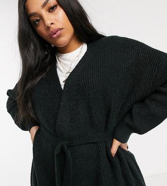 Micha Lounge Curve belted cardigan-Black
