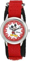 Disney Kids' W000241 Mickey Mouse Stainless Steel Time Teacher Watch with Moving Hands