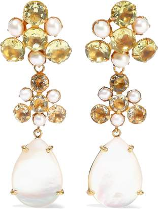 Bounkit 14-karat Gold-plated, Quartz And Pearl Earrings