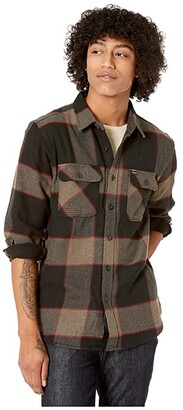 Brixton Bowery Long Sleeve Flannel (Heather Grey/Charcoal) Men's Long Sleeve Button Up