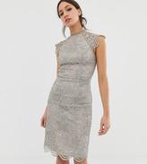 Chi Chi London Tall scallop lace pencil dress in gray