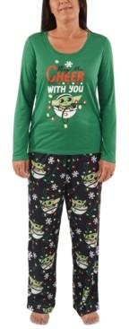 Munki Munki Matching Women's Holiday Baby Yoda Family Pajama Set