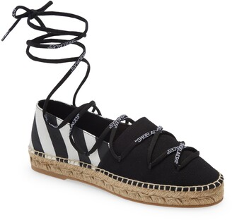 Off-White Lace-Up Espadrille Flat