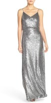 Jenny Yoo Women's 'Jules' Sequin Blouson Gown With Detachable Back Cowl