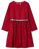 Il Gufo Red Flannel Dress with Glitter Flower Belt