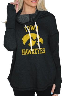 Original Retro Brand Unbranded Women's Black Iowa Hawkeyes Funnel Neck Pullover Sweatshirt