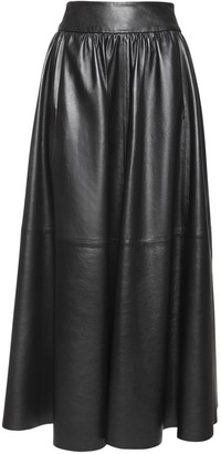 Simonetta Ravizza High Waist Pleated Leather Midi Skirt