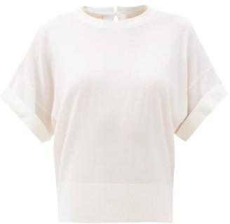 Brunello Cucinelli Monili Trim Wool-blend Short-sleeved Sweater - Ivory