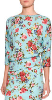 Dolce & Gabbana Floral 3/4-Sleeve Crewneck Top, Blue