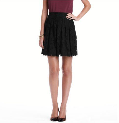 LOFT Petite Lace Pleated Skirt