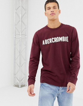 Abercrombie & Fitch logo applique long sleeve top in burgundy