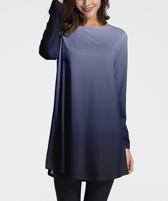 Nanu Women's Tunics Dark - Dark Navy Ombre Long-Sleeve Tunic - Women & Plus