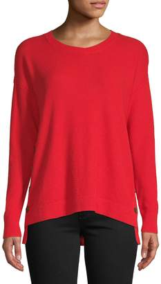 Lord & Taylor Petite Button Slit Crew Neck Sweater