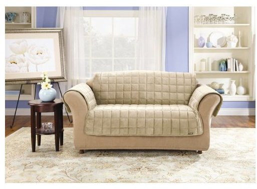 Sure Fit Deluxe Pet fort Sofa Slipcover, Ivory