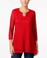 JM Collection Petite Crochet Keyhole Top, Only at Macy's