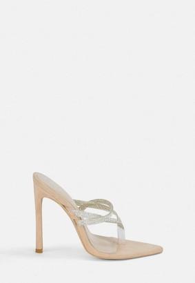 Missguided Diamante Toe Piece Stiletto Heels